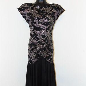 Vintage 1980s Black & Silver Sparkly design dress